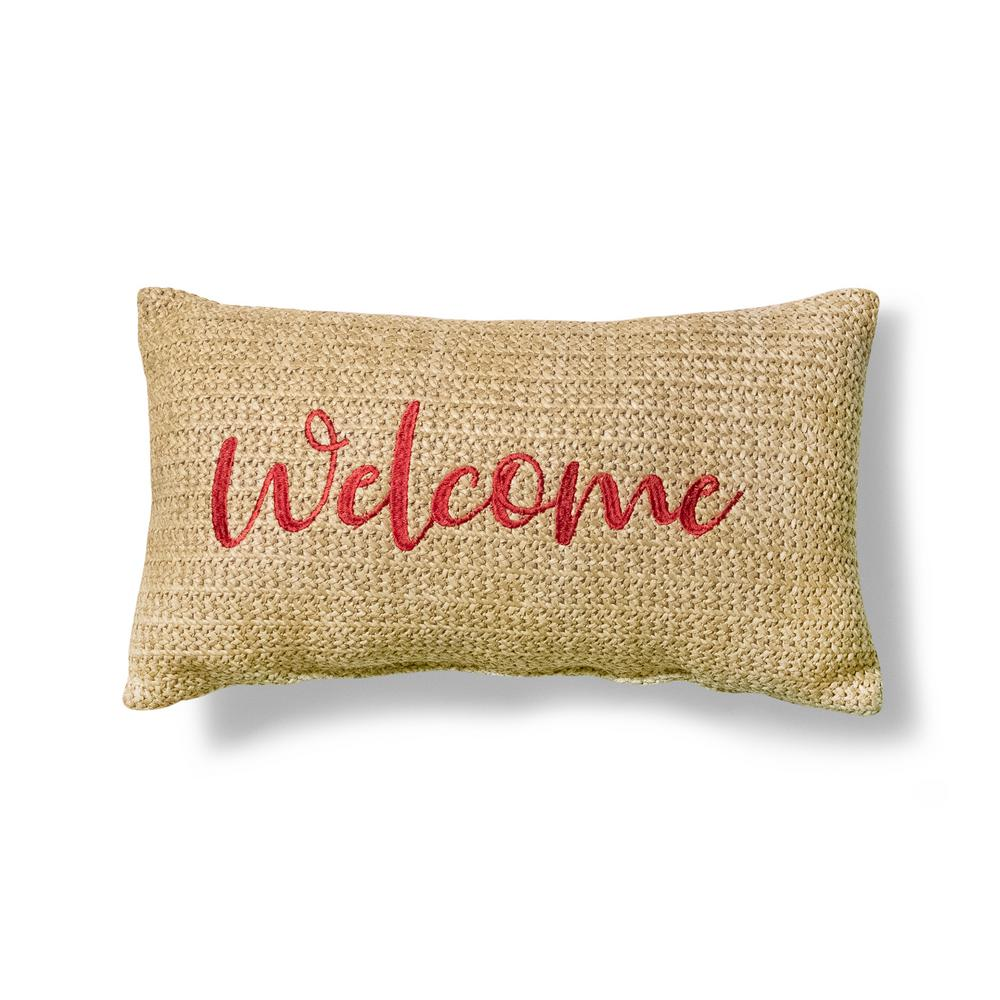 Hampton Bay Welcome Outdoor Lumbar Pillow 7630 04452711 The Home Depot