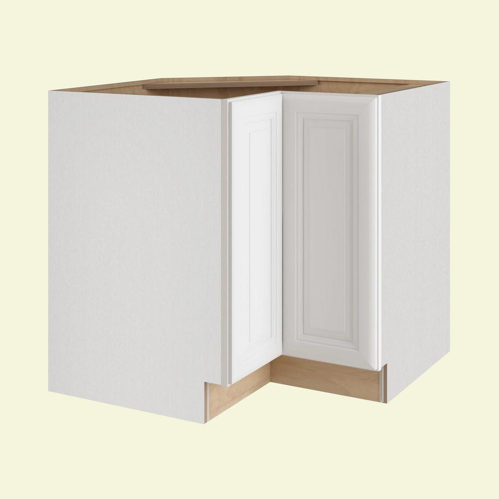 Home Decorators Collection Brookfield Assembled 36x34.5x24 in. Easy Reach  Super Susan Hinge Right Base Kitchen Corner Cabinet in Pacific White