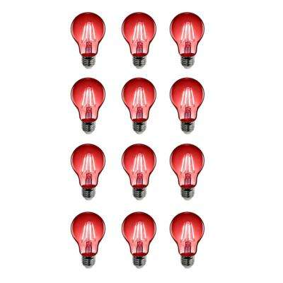 25W Equivalent Red-Colored A19 Dimmable Filament LED Clear Glass Light Bulb (Case of 12)