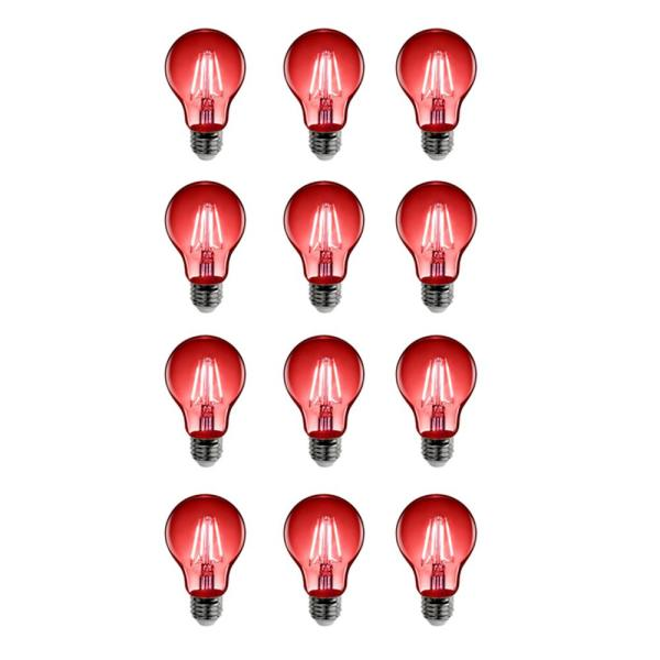 25-Watt Equivalent A19 Medium E26 Base Dimmable Filament Red Colored LED Clear Glass Light Bulb (12-Pack)