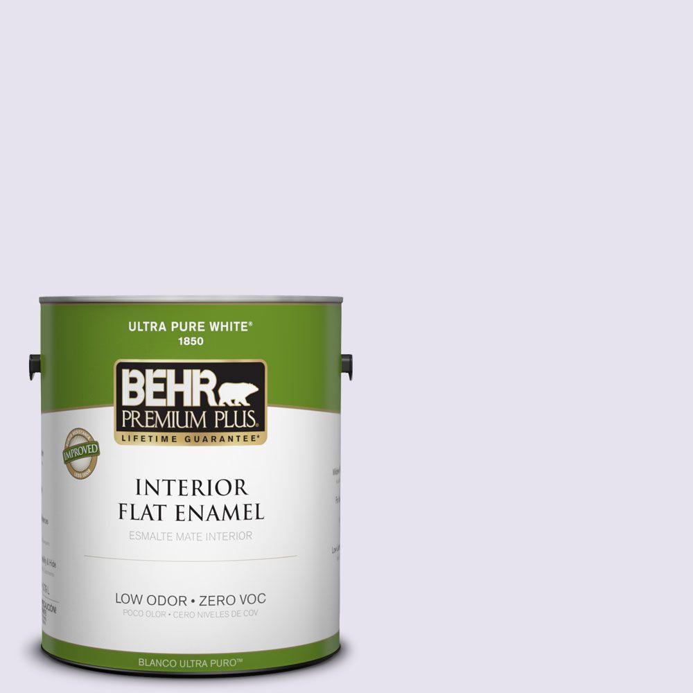 BEHR Premium Plus 1-gal. #640A-1 Soft Iris Zero VOC Flat Enamel Interior Paint-DISCONTINUED