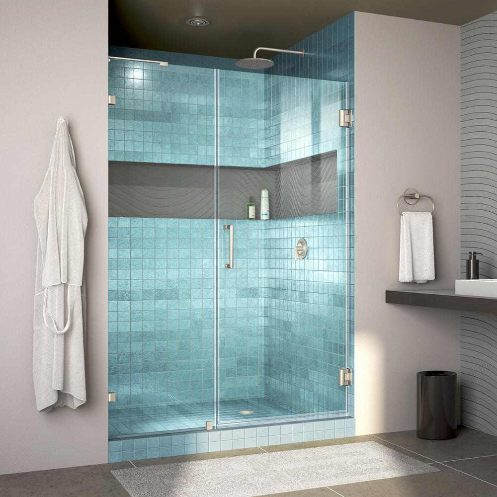 Unidoor Lux 51 in. x 72 in. Frameless Hinged Shower Door