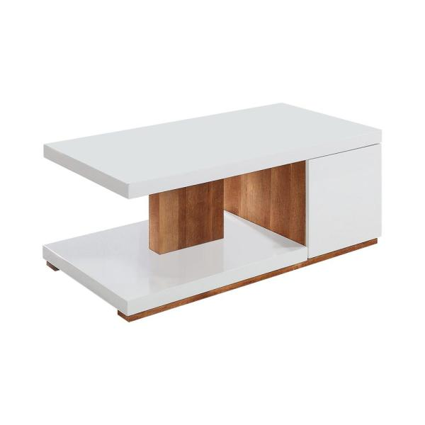 Marvel 48 in. White/Natural Large Rectangle Wood Coffee Table with Shelf