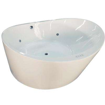 66 in. Acrylic Flatbottom Air Bath Bathtub in White