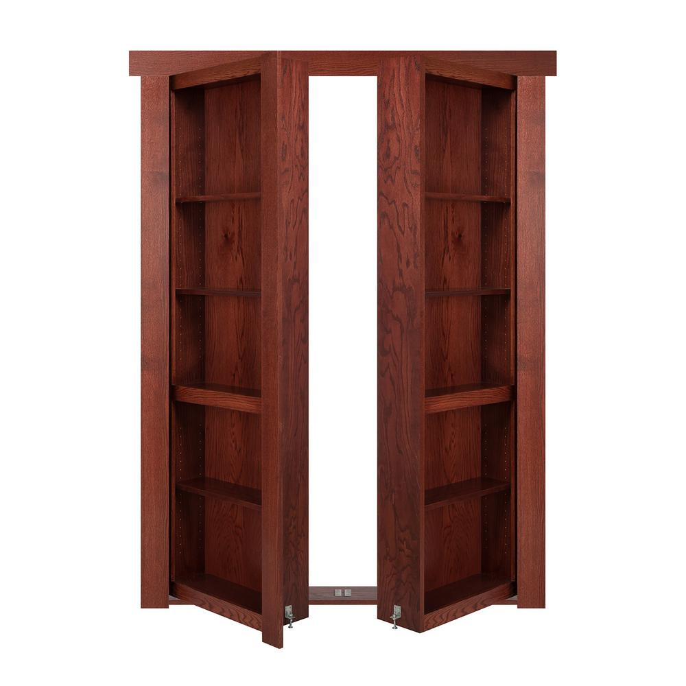 The Murphy Door 48 In X 80 In Flush Mount Assembled Oak Cherry Stained Universal Solid Core
