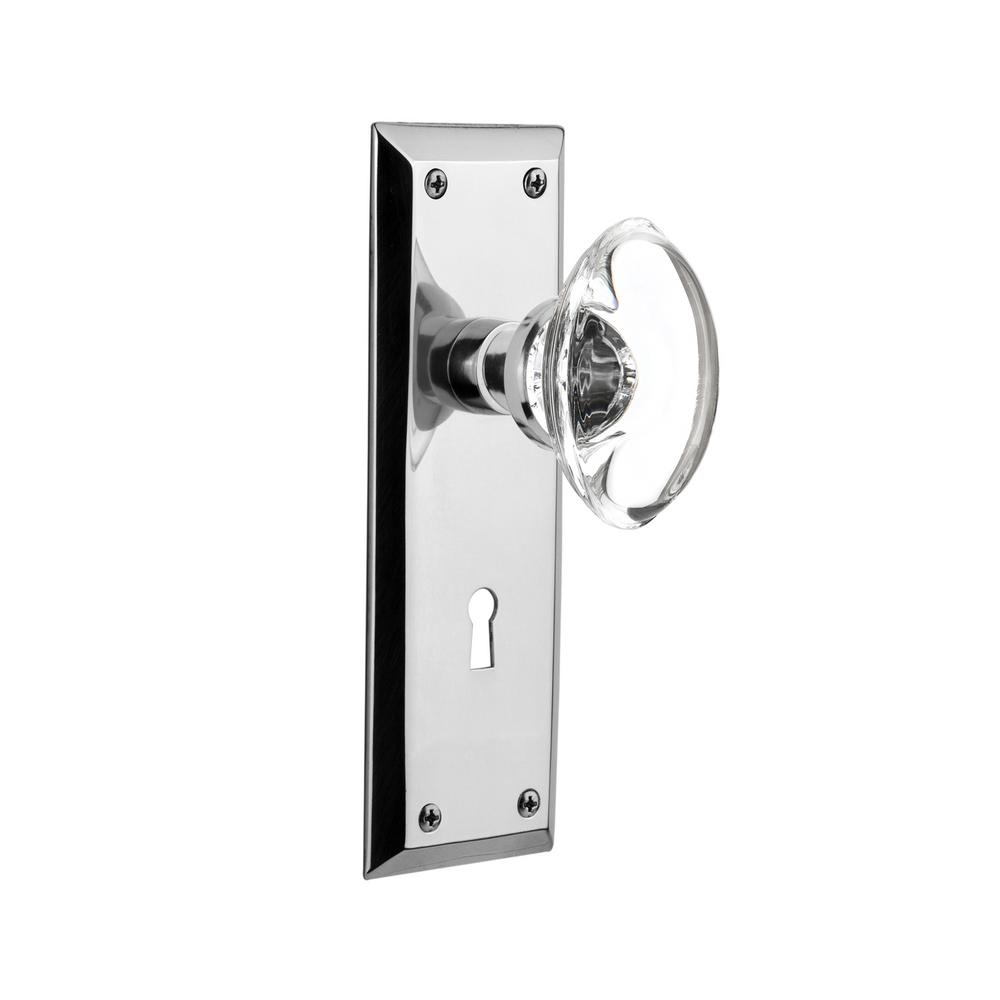 New York Plate with Keyhole 2-3/4 in. Backset Bright Chrome Passage