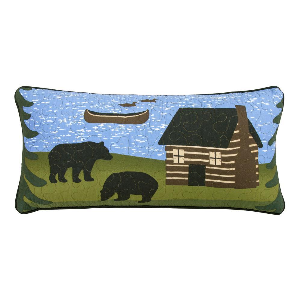 Bear River Black, Blue, Green Polyester 11 in. x 22 in. Rectangular Throw Pillow