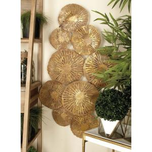 42 inch x 22 inch Contemporary Bronze Iron Flower Montage Wall Decor by