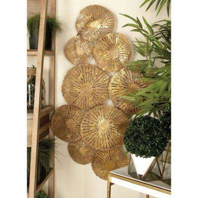 42 in. x 22 in. Contemporary Bronze Iron Flower Montage Wall Decor