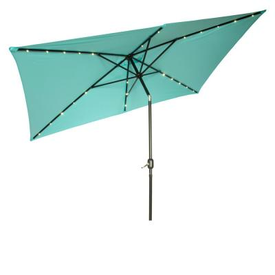 By Trademark Innovations Deluxe Solar Powered LED Lighted Patio Umbrella 9 Peacock Blue