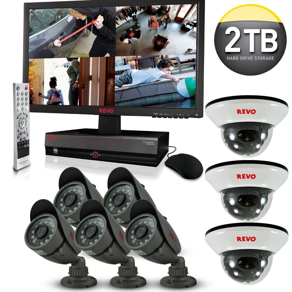 Revo 16-Channel 2TB DVR4 Surveillance System with 21.5 in. Monitor and (8) 600 TVL 33 ft. Nightvision Cameras-DISCONTINUED