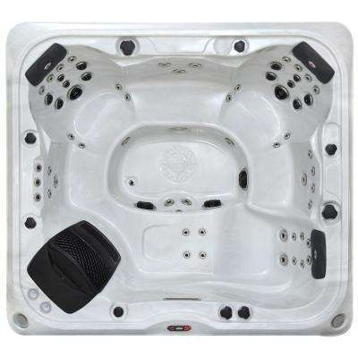 Alberta SE 6-Person 57 Jet Acrylic Hot Tub with Bluetooth LED Speakers, Waterfall, Aromatherapy and Ozonator