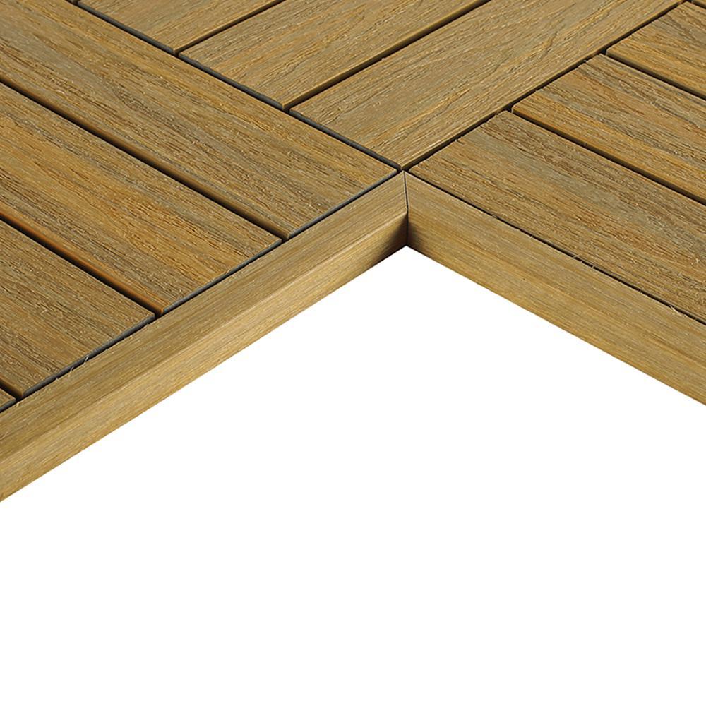 1/6 ft. x 1 ft. Quick Deck Composite Deck Tile Inside End Corner Fascia in English Oak (2-Pieces/box)