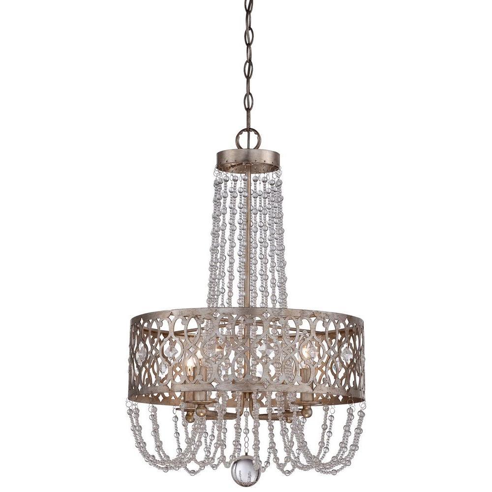 Lucero 4-Light Florentine Silver Chandelier