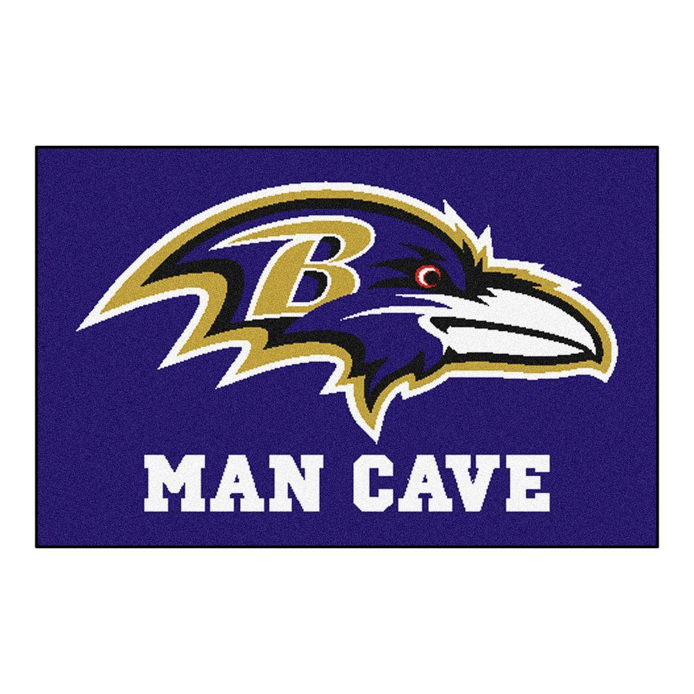 Fanmats Nfl Baltimore Ravens Purple Man Cave 1 Ft 7 In X