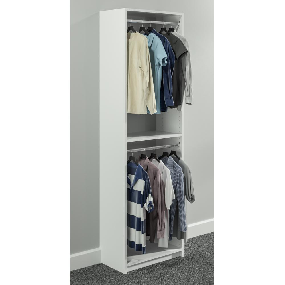 SimplyNeu 14 in. D x 25.375 in. W x 84 in. H White Double Hanging Tower Wood Closet System Kit