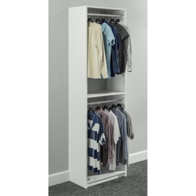 14 in. D x 25.375 in. W x 84 in. H White Double Hanging Tower Wood Closet System Kit