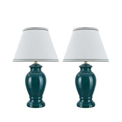 21-1/2 in. Green Ceramic Table Lamp with Hardback Empire Shaped Lamp Shade in Off-White (2-Pack)