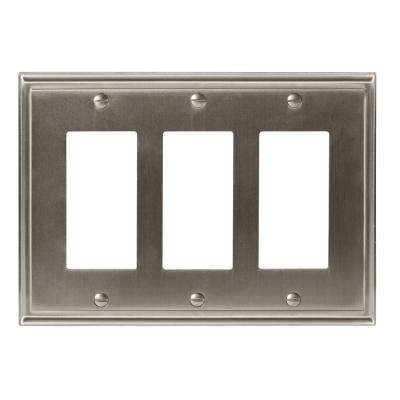 Mulholland 3-Rocker Wall Plate, Satin Nickel