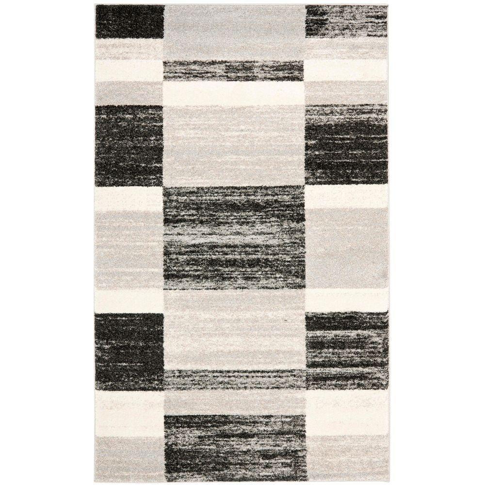 Retro Black/Light Grey 4 ft. x 6 ft. Area Rug