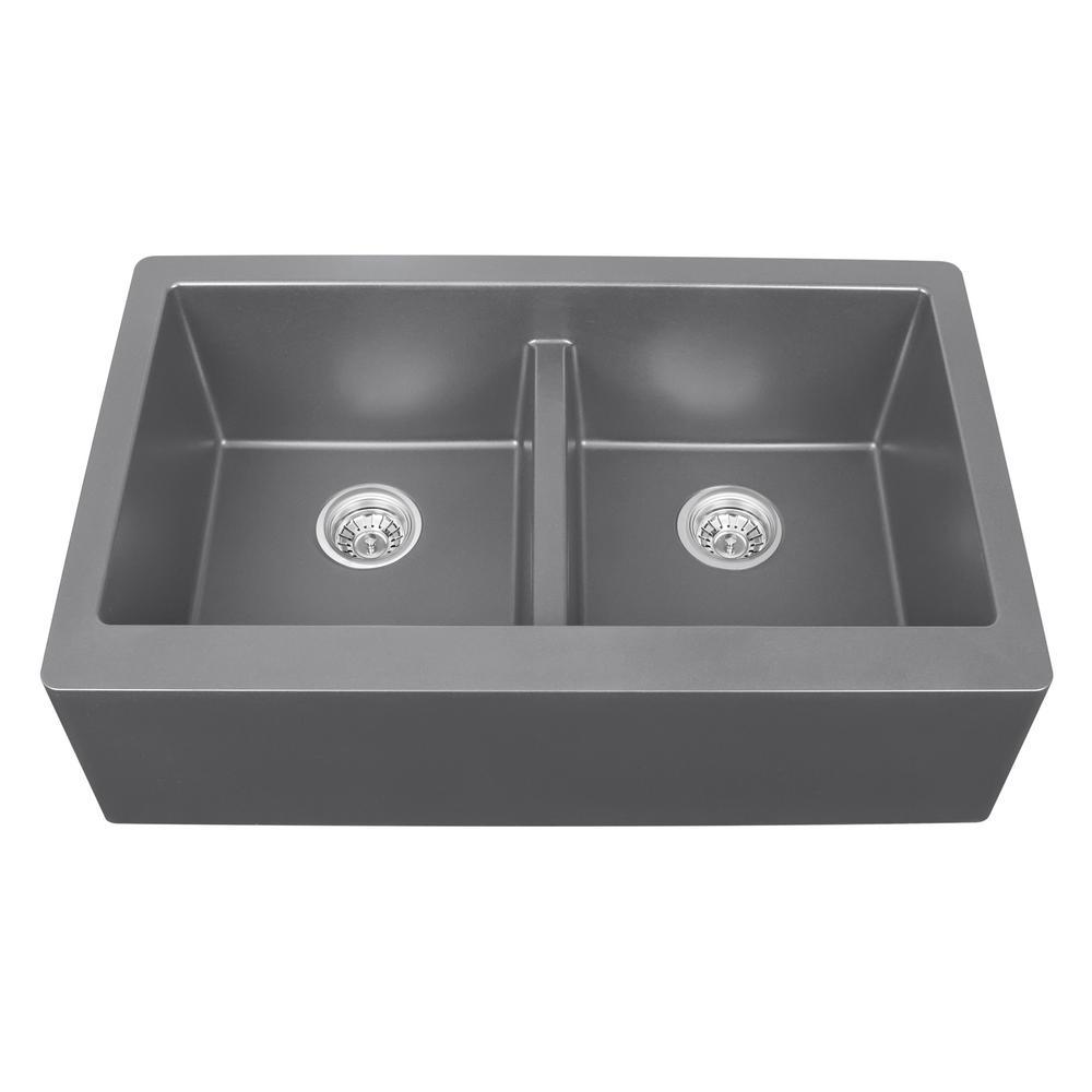 Exceptionnel Karran Apron Front Quartz Composite 34 In. Double Bowl Kitchen Sink In Grey