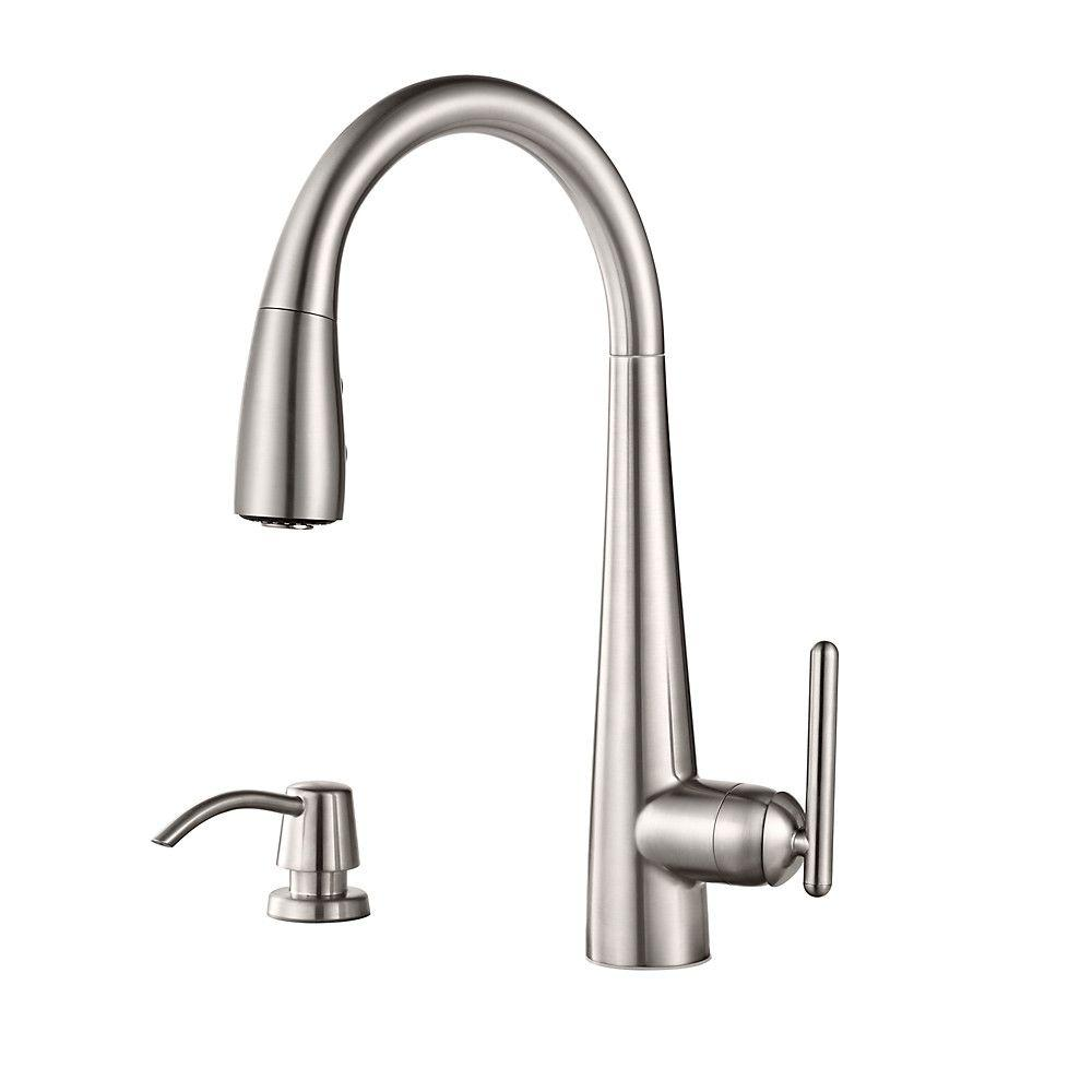 pfister lita single handle pull down sprayer kitchen faucet with soap dispenser in stainless - Pfister Kitchen Faucet
