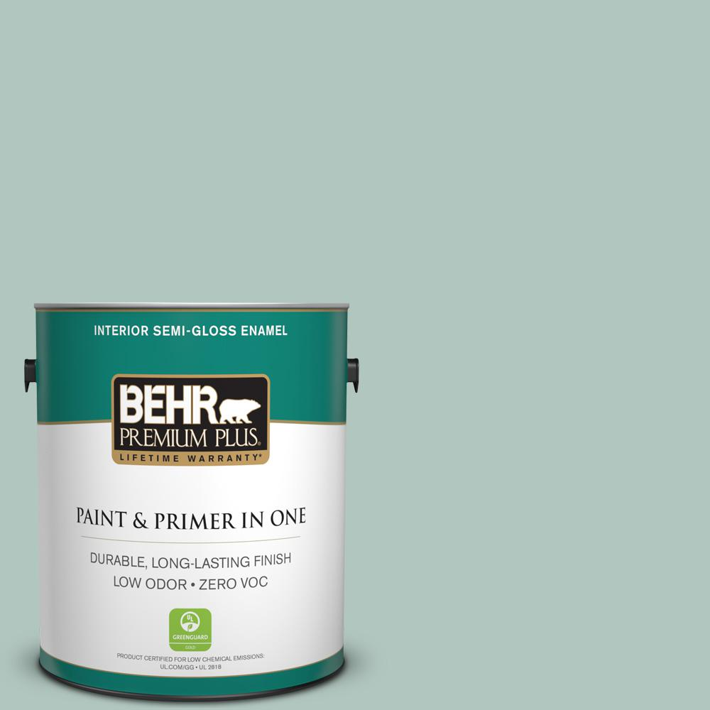 BEHR Premium Plus 1-gal. #480E-3 Marina Isle Zero VOC Semi-Gloss Enamel Interior Paint