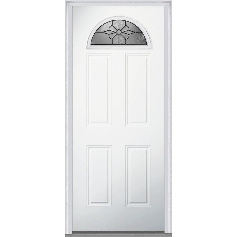 36 in. x 80 in. Dahlia Right-Hand Inswing Fan Lite Decorative 4-Panel Primed Fiberglass Smooth Prehung Front Door