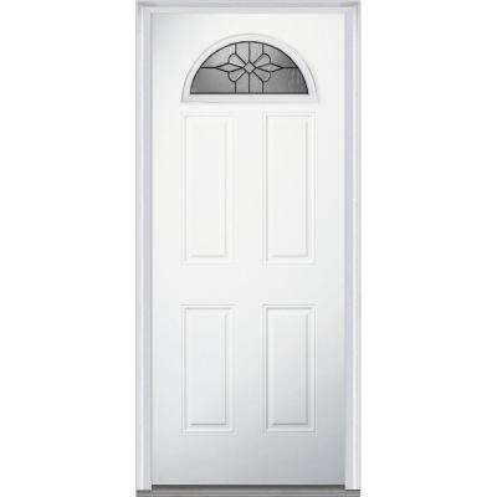 32 in. x 80 in. Dahlia Right-Hand Inswing Fan Lite Decorative 4-Panel Primed Fiberglass Smooth Prehung Front Door