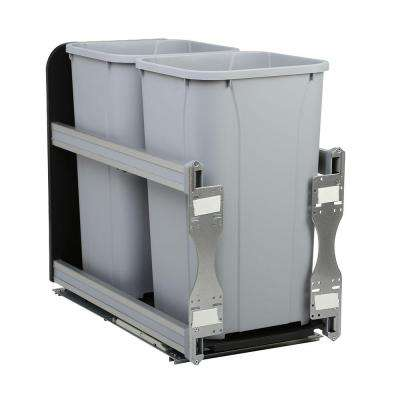 11-13/16 in. x 22-7/16 in. x 19-1/2 in. 27 Qt. In-Cabinet Soft-Close Double Trash Can