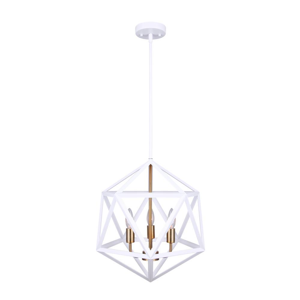 CANARM Skylar 3-Light Matte White and Gold Pendant ...
