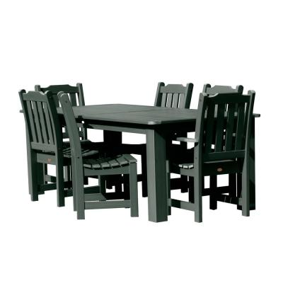 Lehigh Charleston Green 7-Piece Recycled Plastic Rectangular Outdoor Dining Set