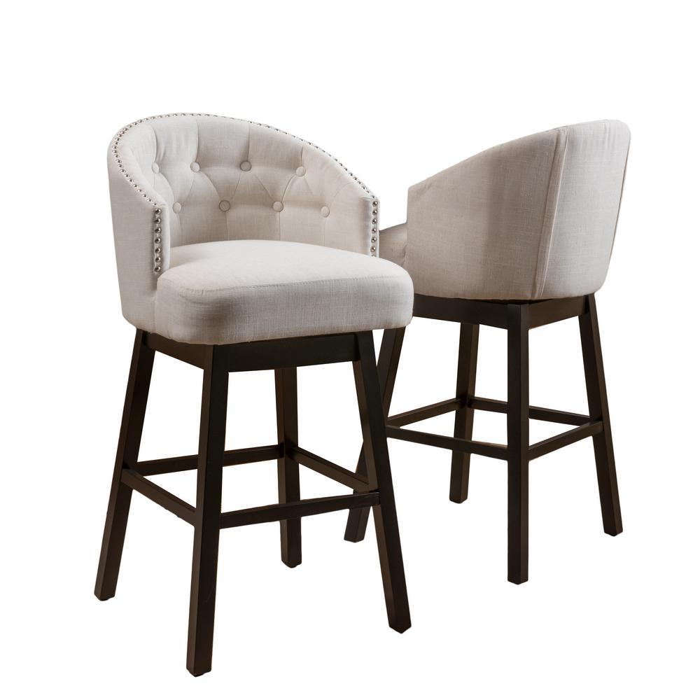 Ogden 41.5 in. Beige Swivel Cushioned Bar stool (Set of 2)