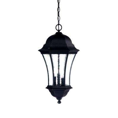 Waverly Collection 3-Light Matte Black Outdoor Hanging Lantern Light Fixture