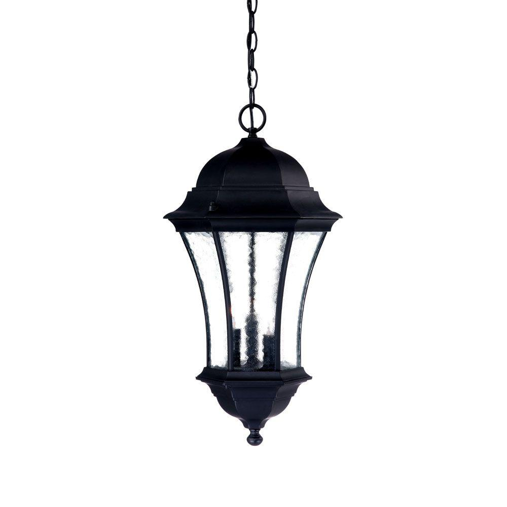 Acclaim lighting waverly collection 3 light matte black outdoor hanging lantern light fixture