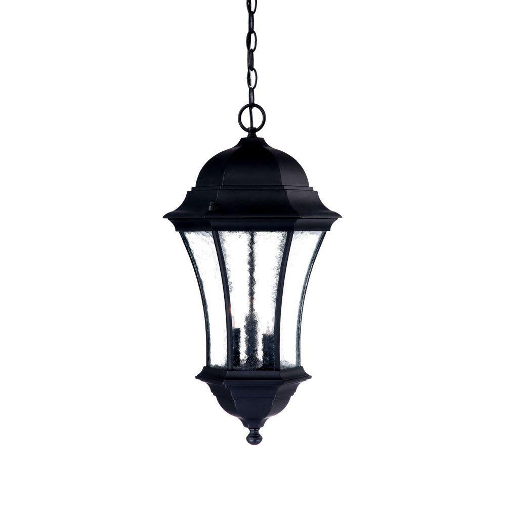 Waverly Collection 3-Light Matte Black Outdoor Hanging Lantern Light Fixture