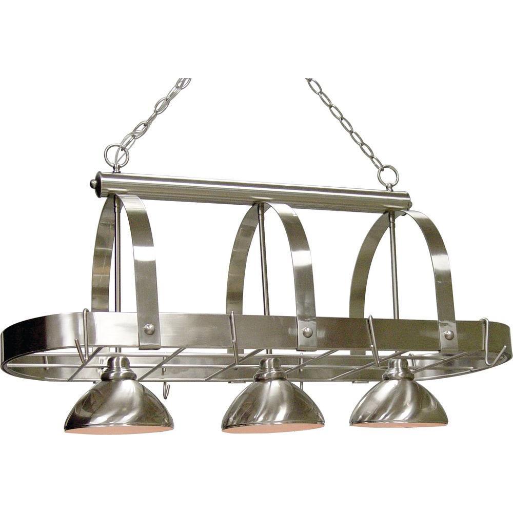 Volume Lighting 3-Light Brushed Nickel Pot Rack Pendant by Volume Lighting