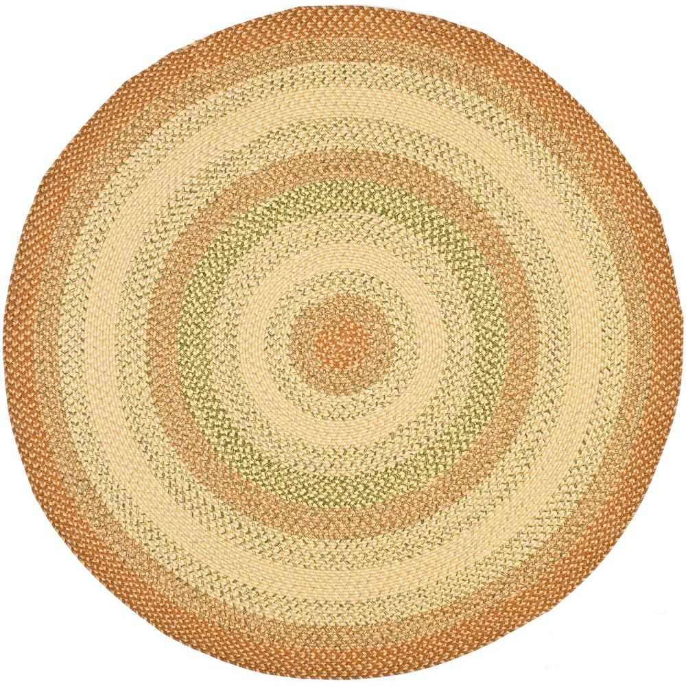 Braided Rust/Multi 6 ft. x 6 ft. Round Area Rug