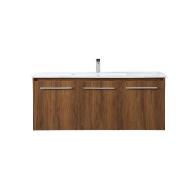 Timeless Home 48 in. W x 18.31 in. D x 19.69 in. H Single Bathroom Vanity in Walnut Brown with Porcelain