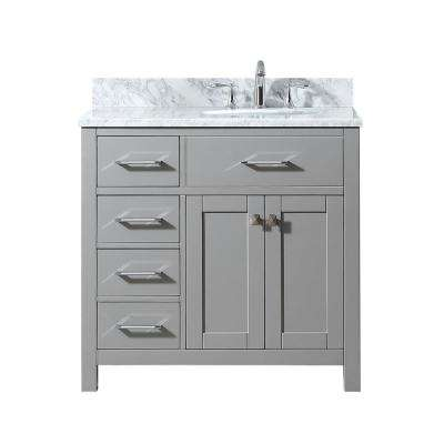 Caroline Parkway 36 in. W Bath Vanity in Cashmere Gray with Marble Vanity Top in White with Round Basin