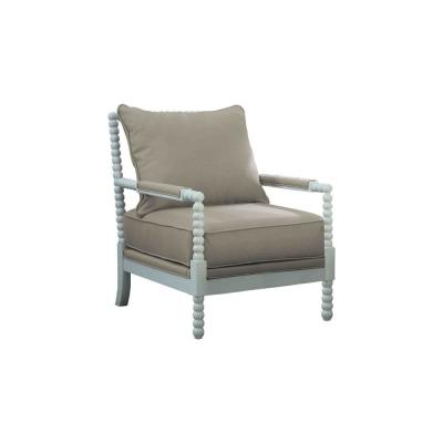 Abraham Beige with White Accent Chair