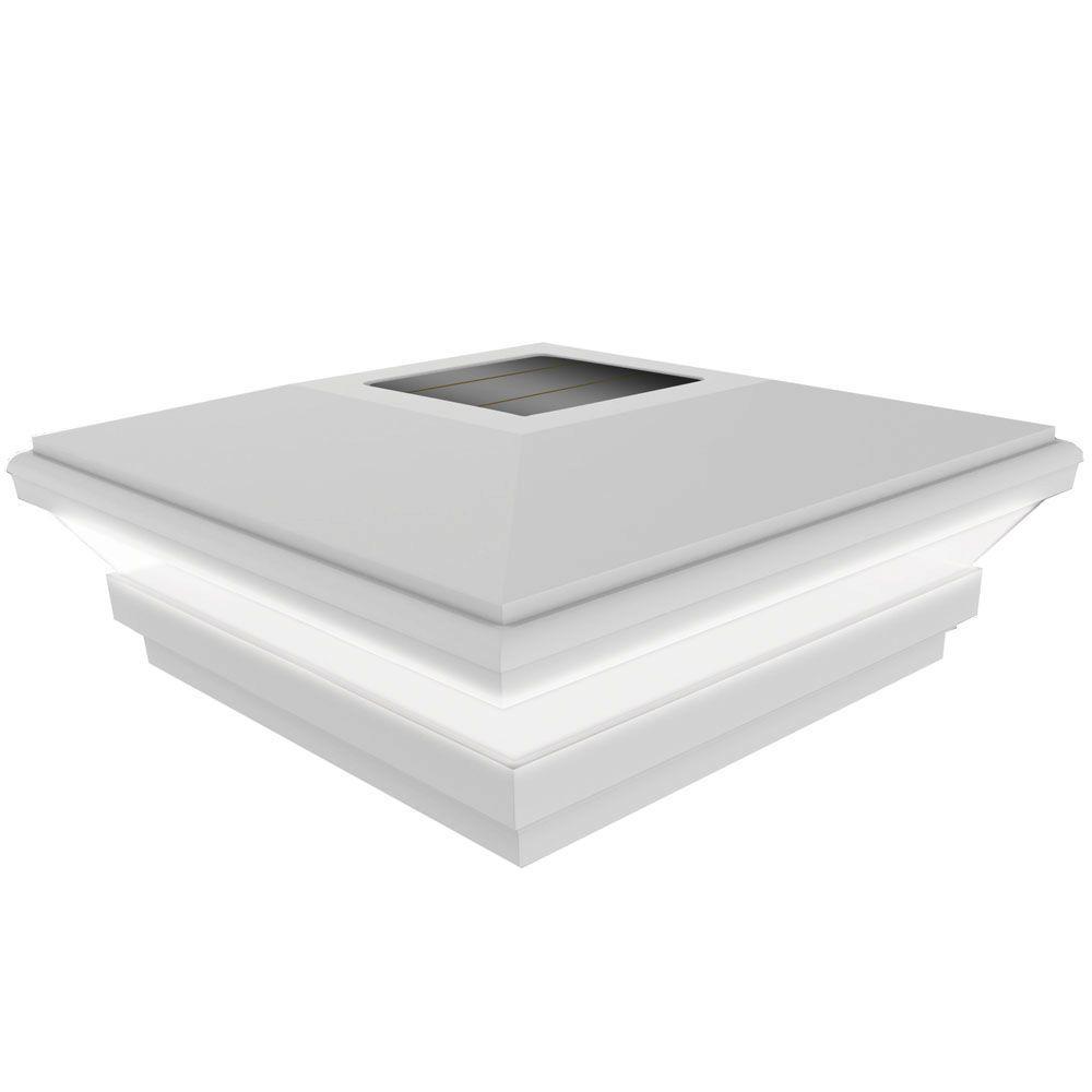 5 in. x 5 in. Vinyl Solar-Powered Contemporary Beveled Post Cap