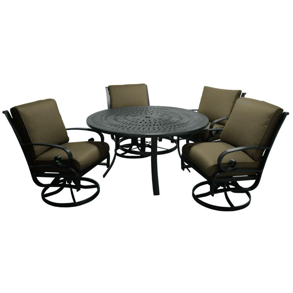 Tradewinds Valle Vista 5-Piece Canvas Cocoa and Textured Pewter Patio Dining Set-DISCONTINUED