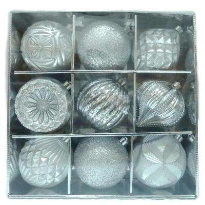 130 mm Ornament Set in Silver (9-Count)