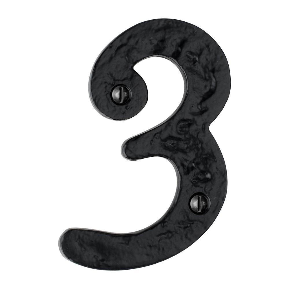 Hammered 4 in. Black House Number 3