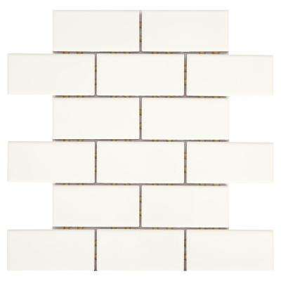 Restore Bright White 12 in  x 12 in  x 6 35 mm Ceramic Mosaic Wall Tile  (0 83 sq  ft / piece)
