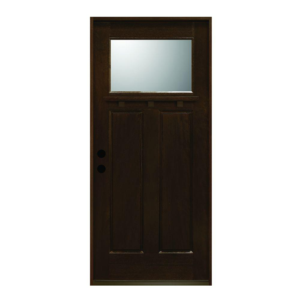36 in. x 80 in. Craftsman Collection 1 Lite Prefinished Antique