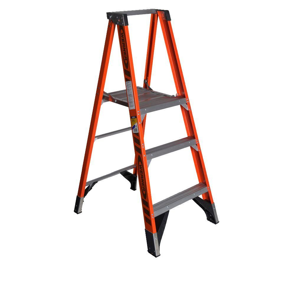 Werner 9 ft. Reach Fiberglass Platform Step Ladder with 375 lb. Load Capacity Type IAA Duty Rating