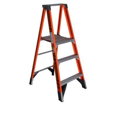 9 ft. Reach Fiberglass Platform Step Ladder with 375 lb. Load Capacity Type IAA Duty Rating