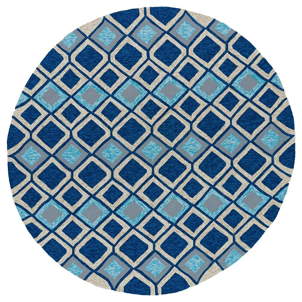 Kaleen Home and Porch Moroccan Blue 5 ft. 9 in. Indoor/Outdoor Round Area Rug